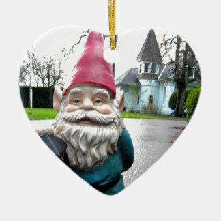 Victorian Gnome Double-Sided Heart Ceramic Christmas Ornament