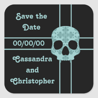 Victorian goth damask fanged skull Save the Date Square Sticker