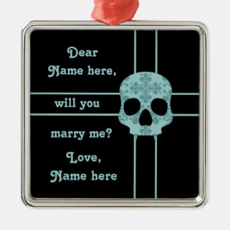 Victorian goth damask skull marriage proposal christmas ornament