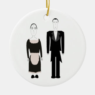 Victorian Gothic Butler and Maid Christmas Ornament