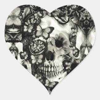 Victorian gothic lace skull pattern heart sticker