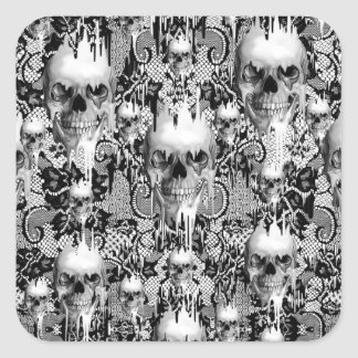 Victorian Gothic Lace skull pattern Square Sticker