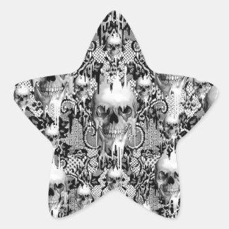 Victorian Gothic Lace skull pattern Star Sticker