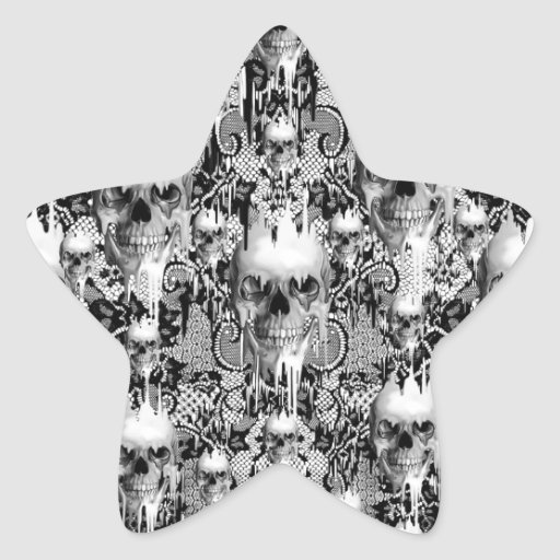 Victorian Gothic Lace skull pattern Star Stickers