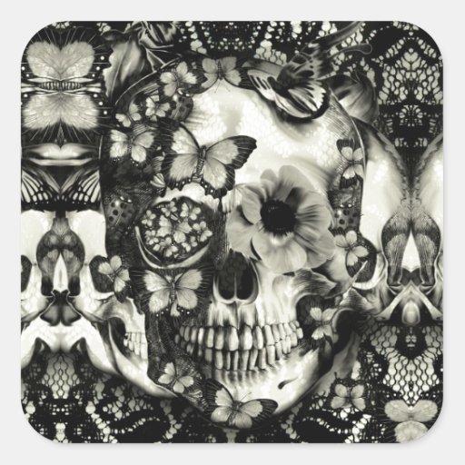 Victorian gothic lace skull pattern sticker