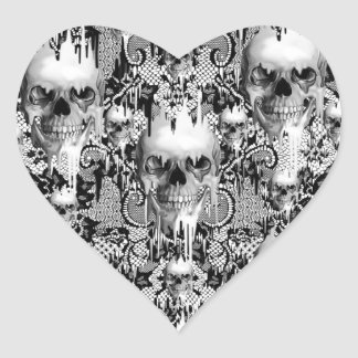 Victorian Gothic Lace skull pattern Heart Stickers
