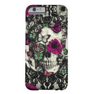 Victorian gothic lace skull with pink accents barely there iPhone 6 case
