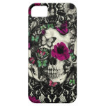 Victorian gothic lace skull with pink accents iPhone 5 cases