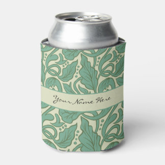 Victorian Green Floral Scroll Flourishes Can Cooler