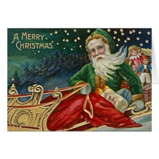 Victorian Green Santa Cards