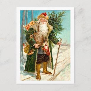 Victorian Green Velvet Christmas Santa Claus Holiday Postcard