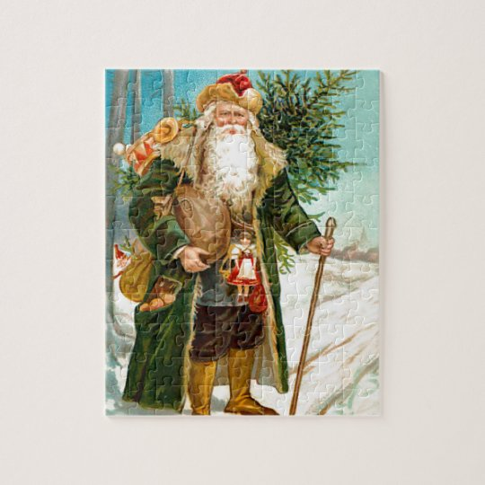 Christmas Decorations In Victorian England: Victorian Green Velvet Christmas Santa Claus Jigsaw Puzzle