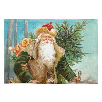 Victorian Green Velvet Christmas Santa Claus Placemat