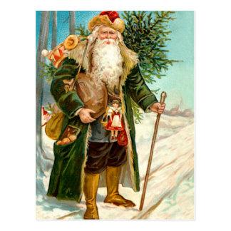 Victorian Green Velvet Christmas Santa Claus Postcard