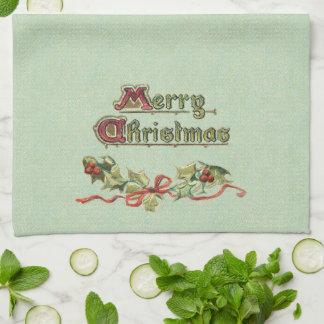 Victorian Greeting, Holly and Ribbon Tea Towel