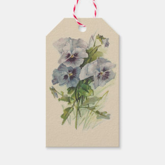Victorian Grey Pansies Gift Tags