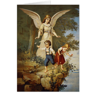 Victorian Guardian Angel and Children Card