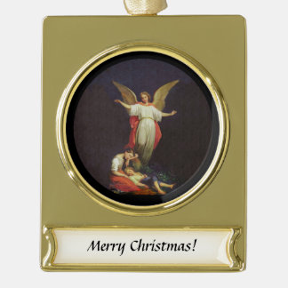 Victorian Guardian Angel Gold Plated Banner Ornament