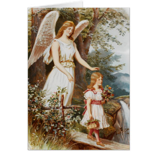 Victorian Guardian Angel Greeting Card