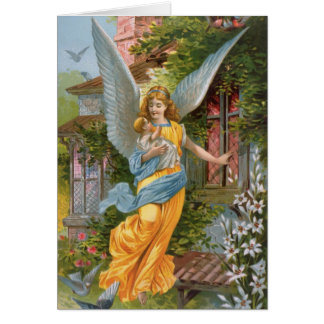 Victorian Guardian Angel with Baby Greeting Card