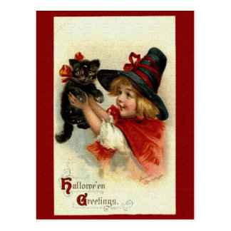 Victorian Halloween Greetings Postcard