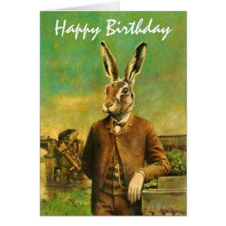 Victorian Hare Birthday Card