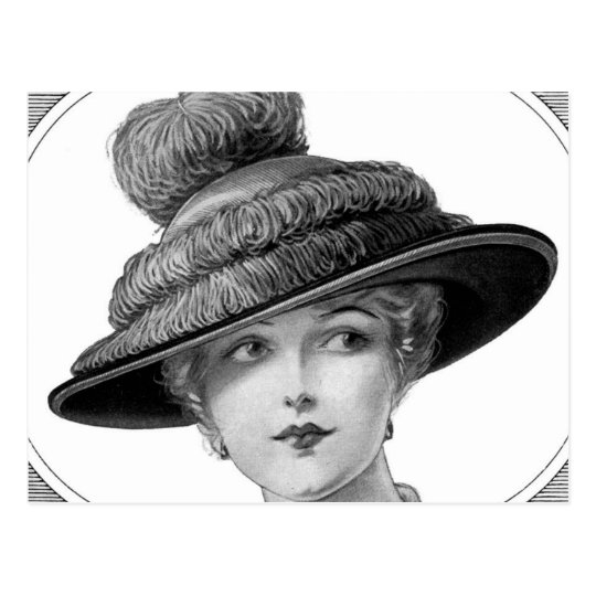 Victorian Hat Lady Postcard