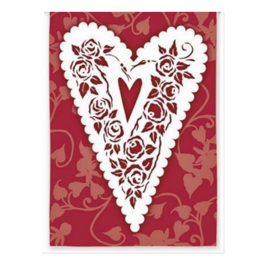 Victorian Heart Lace Postcard