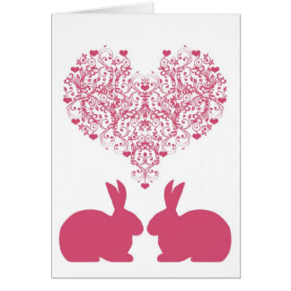 Victorian Heart with Bunnies Greeting Card