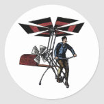 Victorian Helicopter Aircraft Contraption Round Sticker