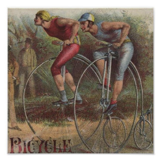 Victorian High Wheel Bicycles Poster