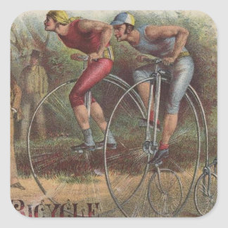 Victorian High Wheel Bicycles Square Sticker