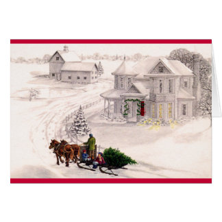 Victorian Home Christmas Holiday Card