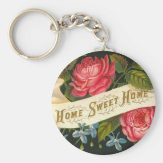 Victorian Home Sweet Home Roses Basic Round Button Key Ring