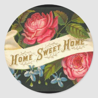 Victorian Home Sweet Home Roses Round Sticker
