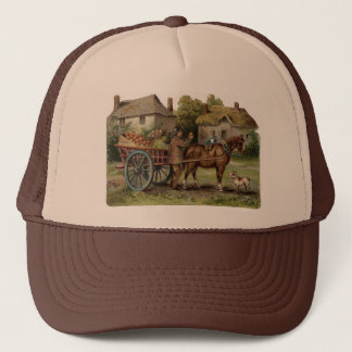 Victorian Horse Drawn Apple Cart Trucker Hat