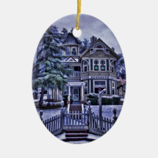 Victorian House Ceramic Oval Decoration