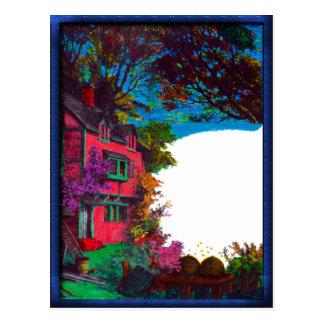 Victorian House Fall Art Postcard