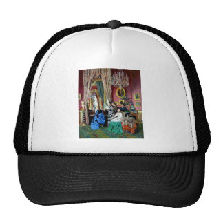 Victorian House Party Women Men Music painting Mesh Hats