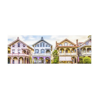 Victorian House Row Wrapped Canvas