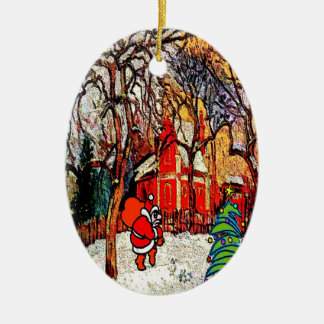 Victorian House with Santa Ceramic Oval Decoration