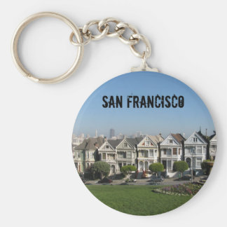 Victorian Houses- San Francisco Basic Round Button Key Ring