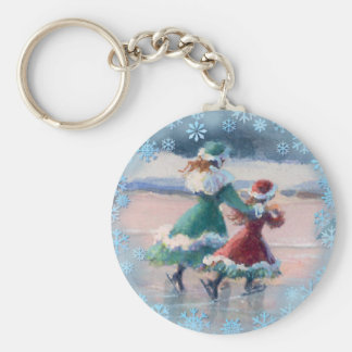 VICTORIAN ICE SKATERS by SHARON SHARPE Card Key Chain