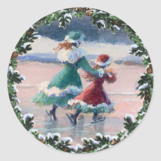 VICTORIAN ICE SKATERS & WREATH by SHARON SHARPE Stickers
