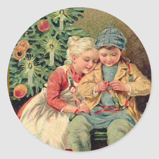 Victorian Illustration on Christmas Cards Classic Round Sticker