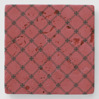 Victorian Inspired Black and Red Pattern Stone Coaster