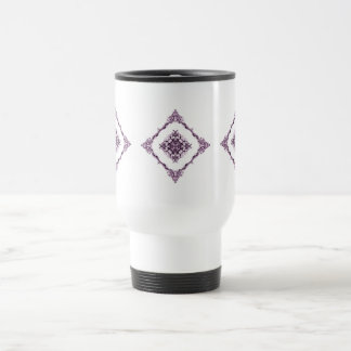 Victorian Inspired Purple Fractal Diamond Design Travel Mug