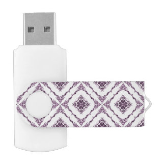 Victorian Inspired Purple Fractal Diamond Pattern USB Flash Drive