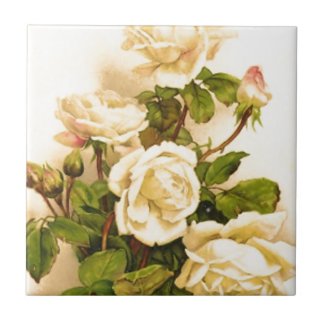Victorian Ivory Rose Painting Small Square Tile