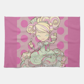 victorian kawaii purple polka dots kitchen towel